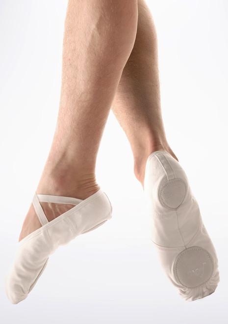 Scarpa danza classica suola divisa in tela Bianca uomini Move Bianco. [Bianco]