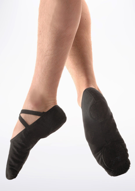 Scarpa danza classica suola divisa in tela nera uomini Move Nero. [Nero]