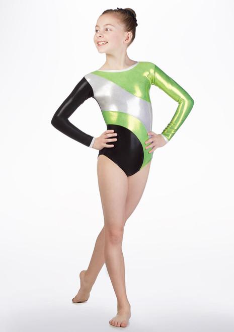 Body Ginnastica Artistica da Bambina GYM42 Tappers and Pointers Verde davanti. [Verde]