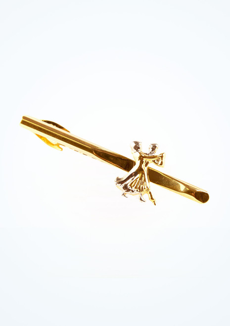 Fermaglio cravatta con strass Dancing Couple Oro davanti. [Oro]