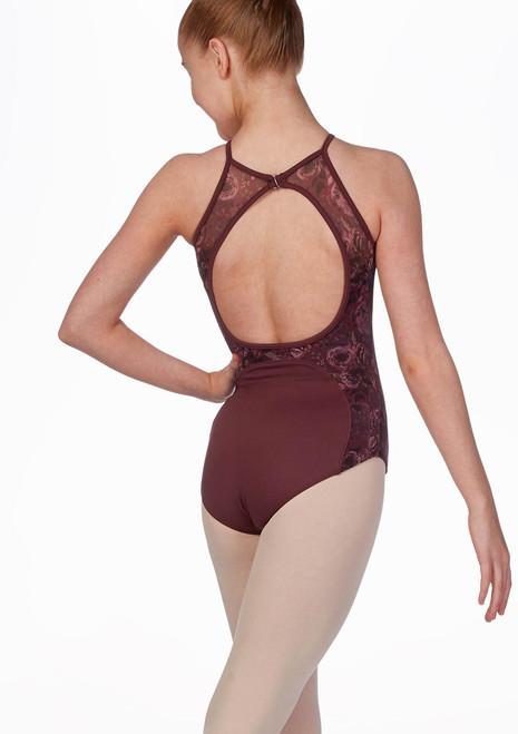 Body per ragazze schiena nuda e rete floreale Bloch Nero indietro. [Nero]