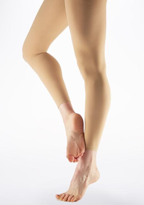 Calze Danza Senza Piede in Microfibra Color Carne Marrone immagine principale. [Marrone]