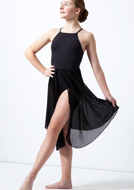 Vestito Danza Lirica Ragazza con Incrocio sulla Schiena Atlas Move Dance Nero davanti. [Nero]