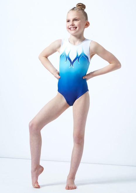 Body ginnico blu senza maniche a stampa degrade per bambine Alegra davanti. [Blu]