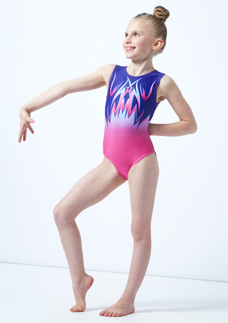 Body ginnico rosa senza maniche a stampa degrade per bambine Alegra davanti. [Rosa]
