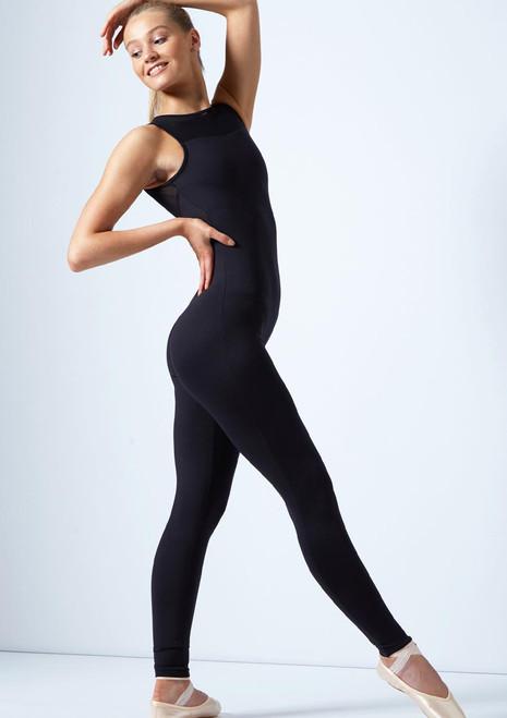 Tuta intera con apertura sulla schiena e tessuto trasparente Eden Move Dance Nero davanti. [Nero]