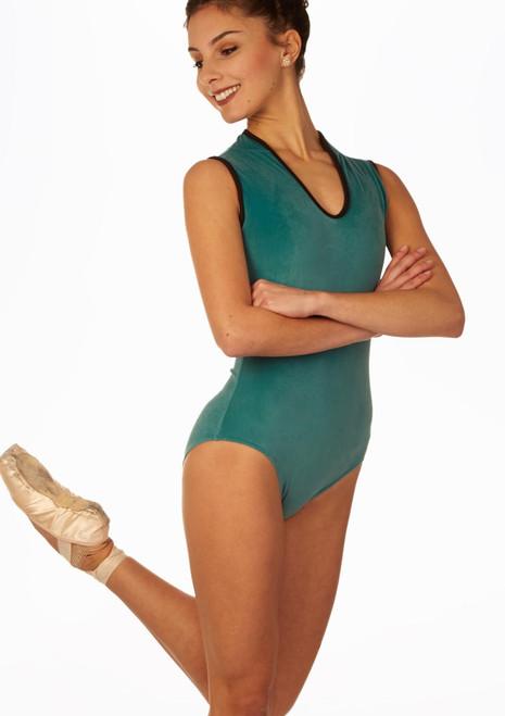 Body Danza con Spalline Spesse e Scollo a V So Danca Verde davanti. [Verde]