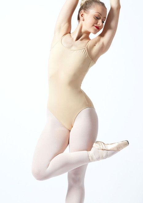 Body Danza con Spalline Sottili Nejor Bloch Color Cane Marrone davanti. [Abbronzatura]