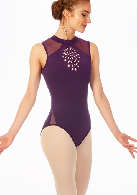 Body collo alto decorato Jozette Viola davanti. [Viola]