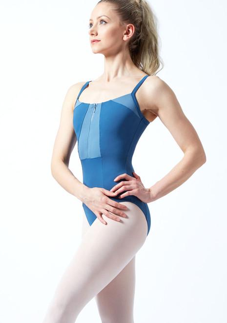 Body con bretelle sottili e cerniera frontale Vilette Bloch Blu davanti. [Blu]