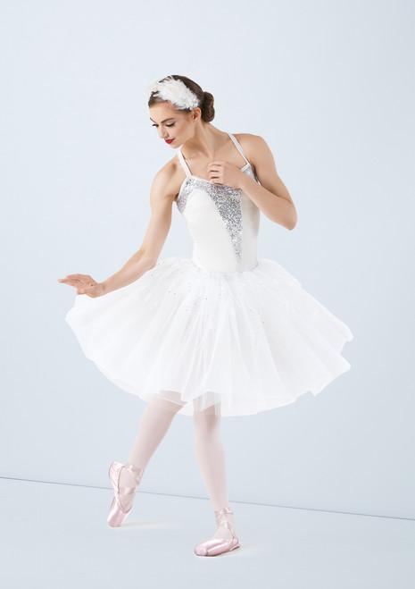 Weissman White Swan Romantic Length Glitter Tutu Bianco davanti. [Bianco]