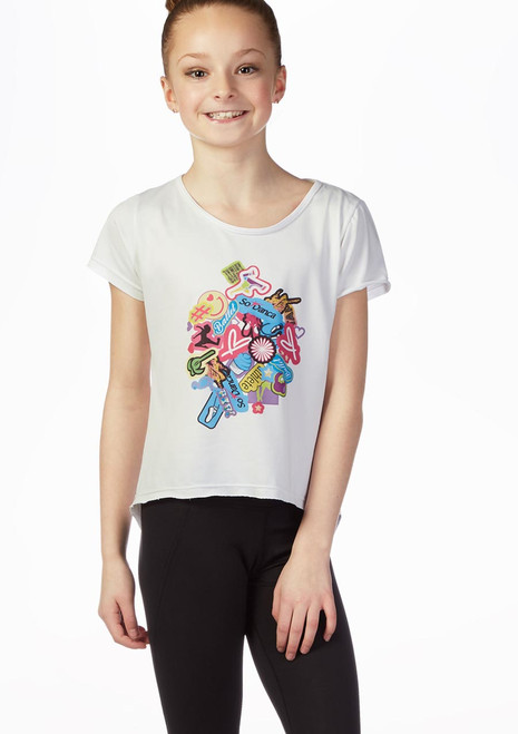 T-shirt con logo per bambine So Danca Bianco davanti. [Bianco]