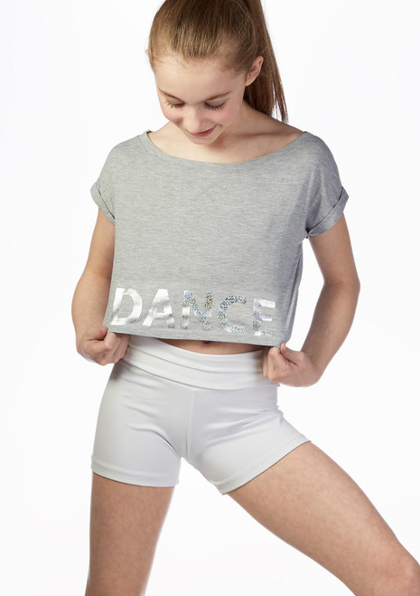 Top corto per bambine con stampa oleografica e nastro sulla schiena Bloch Bianco davanti. [Bianco]
