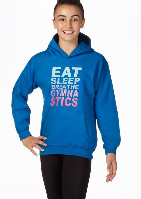 Felpa con cappuccio Eat Sleep Breathe Gymnastics Blu davanti. [Blu]
