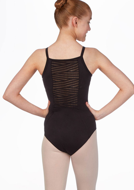 Body per ragazze spalline sottili con rete a strisce Bloch Nero indietro. [Nero]