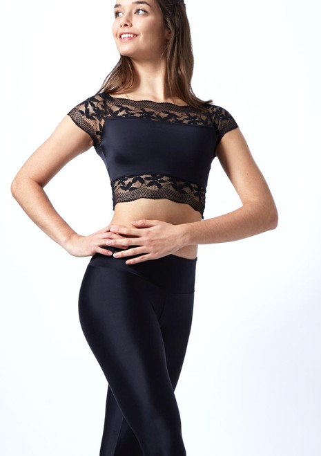 Crop top in pizzo floreale So Danca Nero davanti. [Nero]