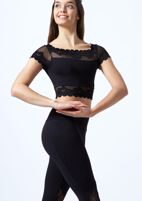 Crop top floreale ricamato con maniche ad aletta So Danca Nero davanti. [Nero]