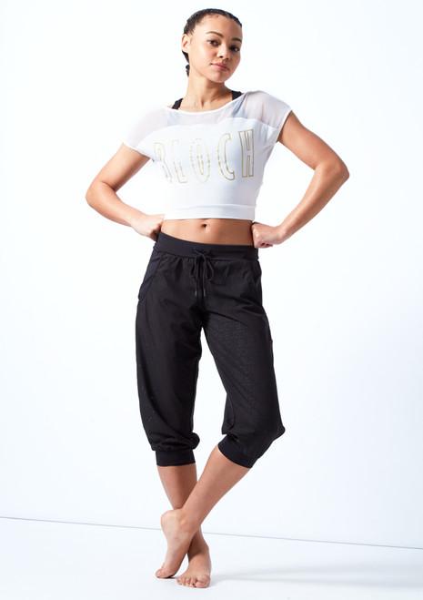 Pantaloni corti perforati per ragazze Bloch Nero davanti. [Nero]