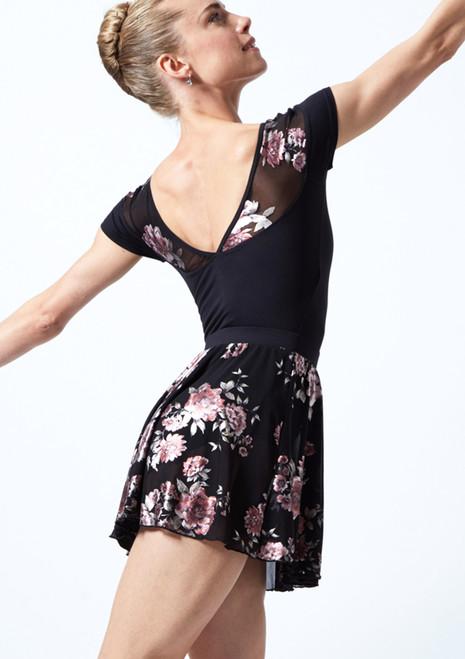 Gonna floreale facile da indossare in tessuto trasparente velato Louise Move Dance Nero  Dietro-1T [Nero ]