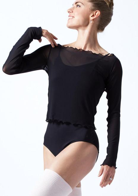 Crop top in tessuto trasparente a maniche lunghe Spirit Move Dance Nero  Davanti-1T [Nero ]