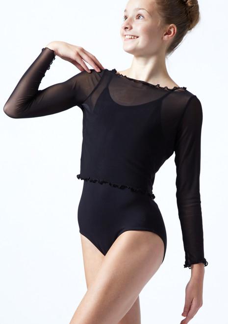 Crop top per ragazze in tessuto trasparente a maniche lunghe Spirit Move Dance Nero  Davanti-1T [Nero ]