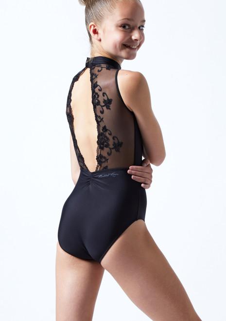Body Danza Per Ragazze A Collo Alto E Pizzo Ballet Rosa Nero  Dietro-1T [Nero ]