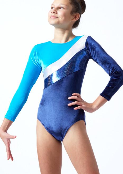 Body da ginnastica a maniche lunghe Cosmic Tappers & Pointers Blu scuro Davanti-1T [Blu scuro]