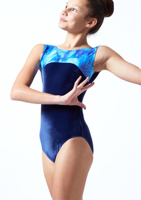 Body da ginnastica senza maniche Galaxy Tappers & Pointers Blu  Davanti-1T [Blu ]