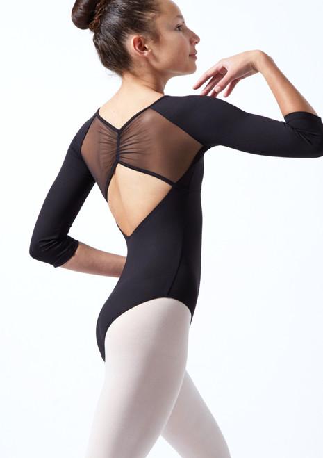 Body Danza Per Ragazze con Maniche a ¾ in Tessuto Trasparente Mirella