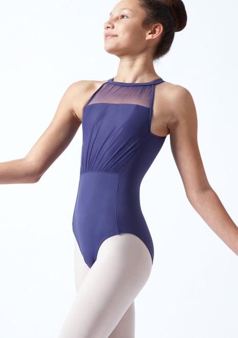 Body Danza Per Ragazze con Scollo all'Americana in Tessuto Trasparente Mirella Blu marino Davanti-1T [Blu marino]