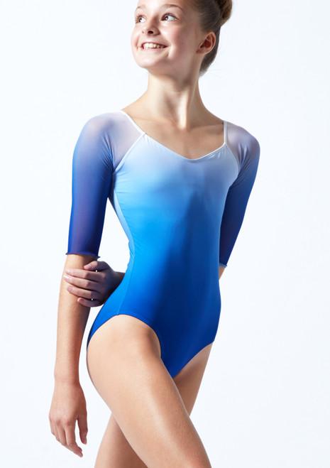 Body Danza Per Ragazze Design Sfumato con Maniche a ¾ Ballet Rosa Blu  Davanti-2T [Blu ]