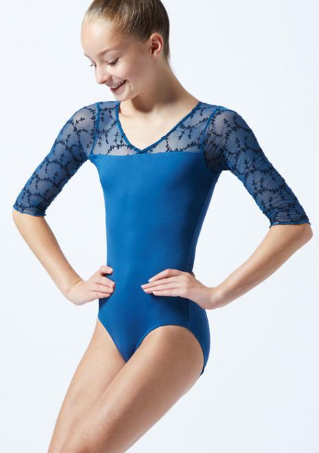 Body Danza con Scollo sulla Schiena e Maniche a ¾ Ballet Rosa Blu  Davanti-1T [Blu ]