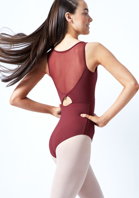 Body danza per ragazze in tessuto trasparente con orlo con onde Amita Bloch Burdeos  Dietro-1T [Burdeos ]