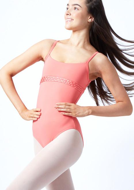 Body danza per ragazze con bretelle sottili e orlo con le onde Miro Bloch Coral  Davanti-1T [Coral ]