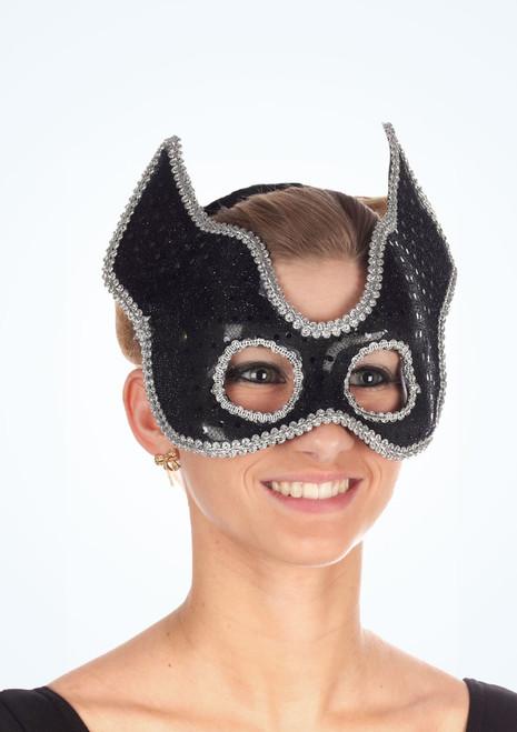 Maschera in lustrini meta viso Nero. [Nero]