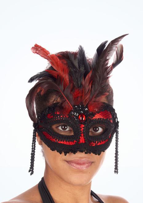 Maschera con piuma e perle Rosso. [Rosso]