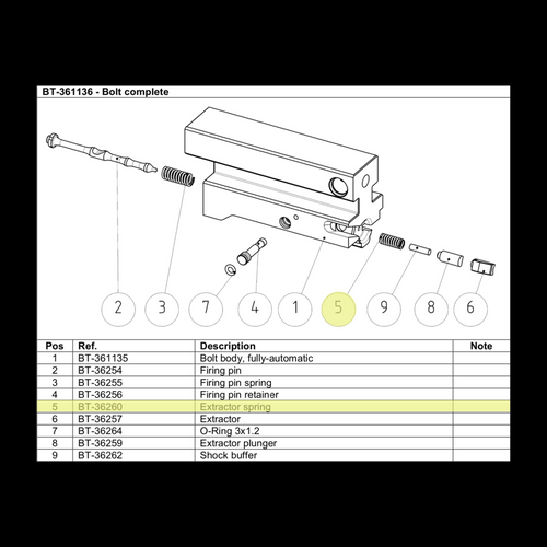 BT-36260  Extractor Spring