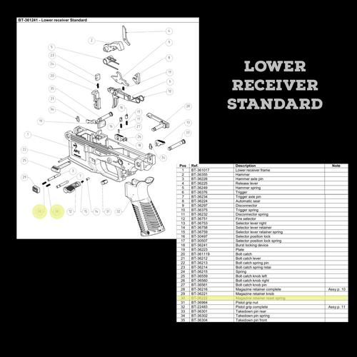 BT-36222  Magazine Retainer Reset Spring as seen on Lower Receiver Standard