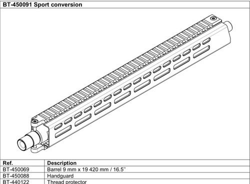 """BT-450069 - Barrel 9 mm x 420 mm / 16.5"""""""