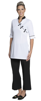 Joanne Martin Chinese tunic/contrast neck White