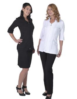 Carolyn Design Tow Way Zipper Black and White