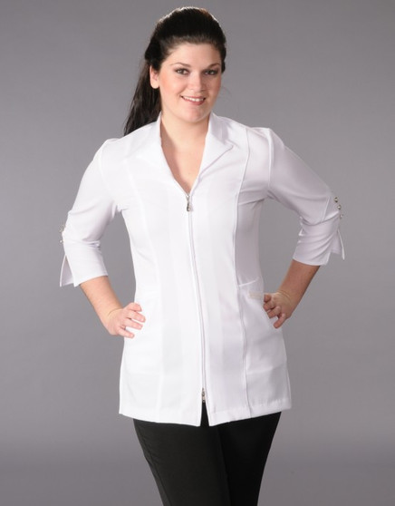 Carolyn Design Collared Stretch Jacket white