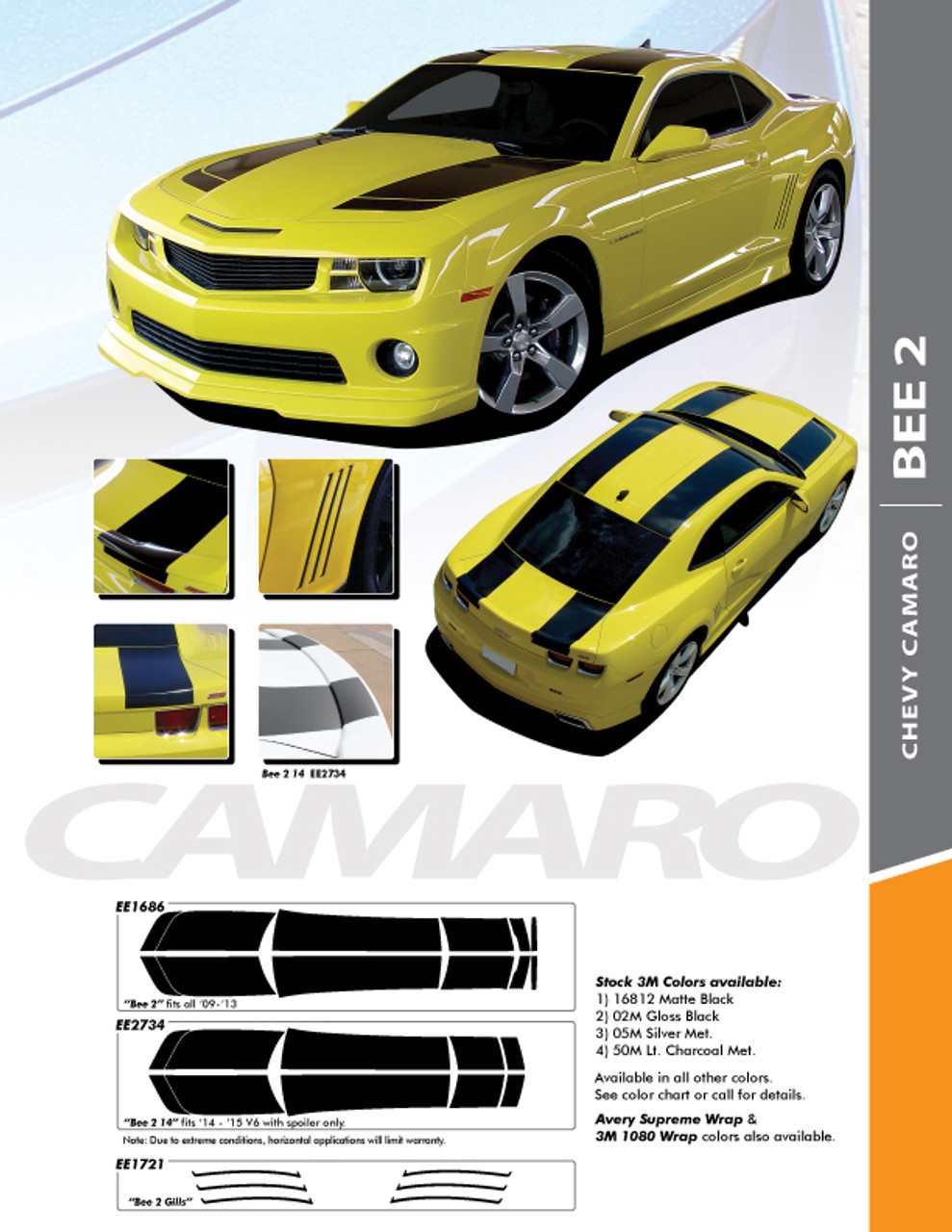 Chevrolet Camaro Racing Stripes Bumblebee Transformers 2010 2011 2012 2013
