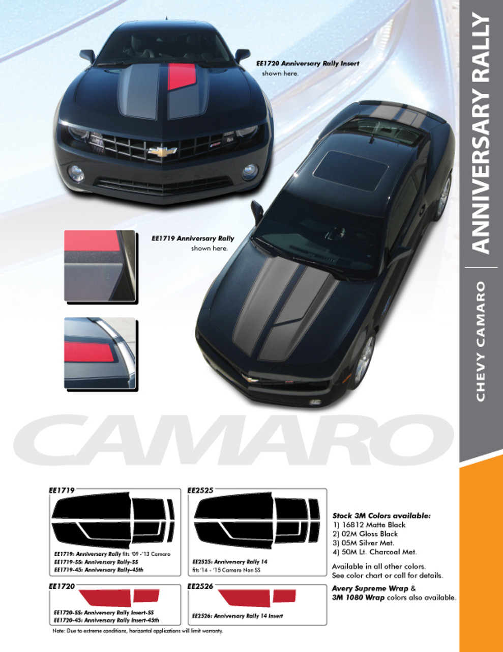 Choose Color Chevrolet Camaro 2010-2015 Sport Rally Strobe Stripes
