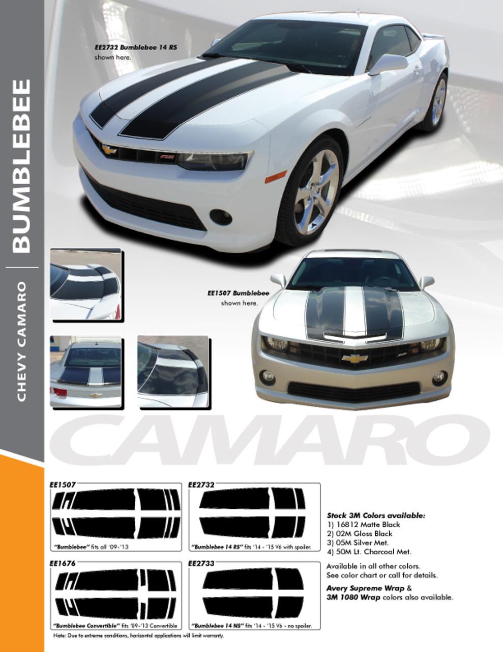 2014-2015 Bumblebee Chevy Camaro Rally Hood Stripes Decals Graphics OE 3M Vinyl