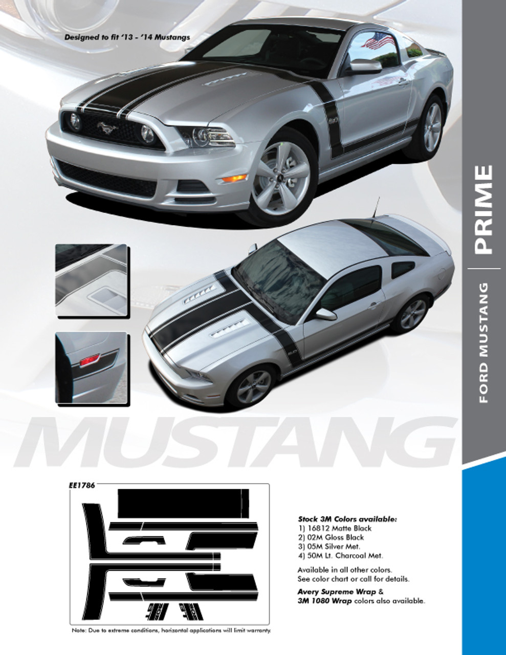 Side Body Stripe Stripes Graphics fit any 2007 2008 California Special Mustang
