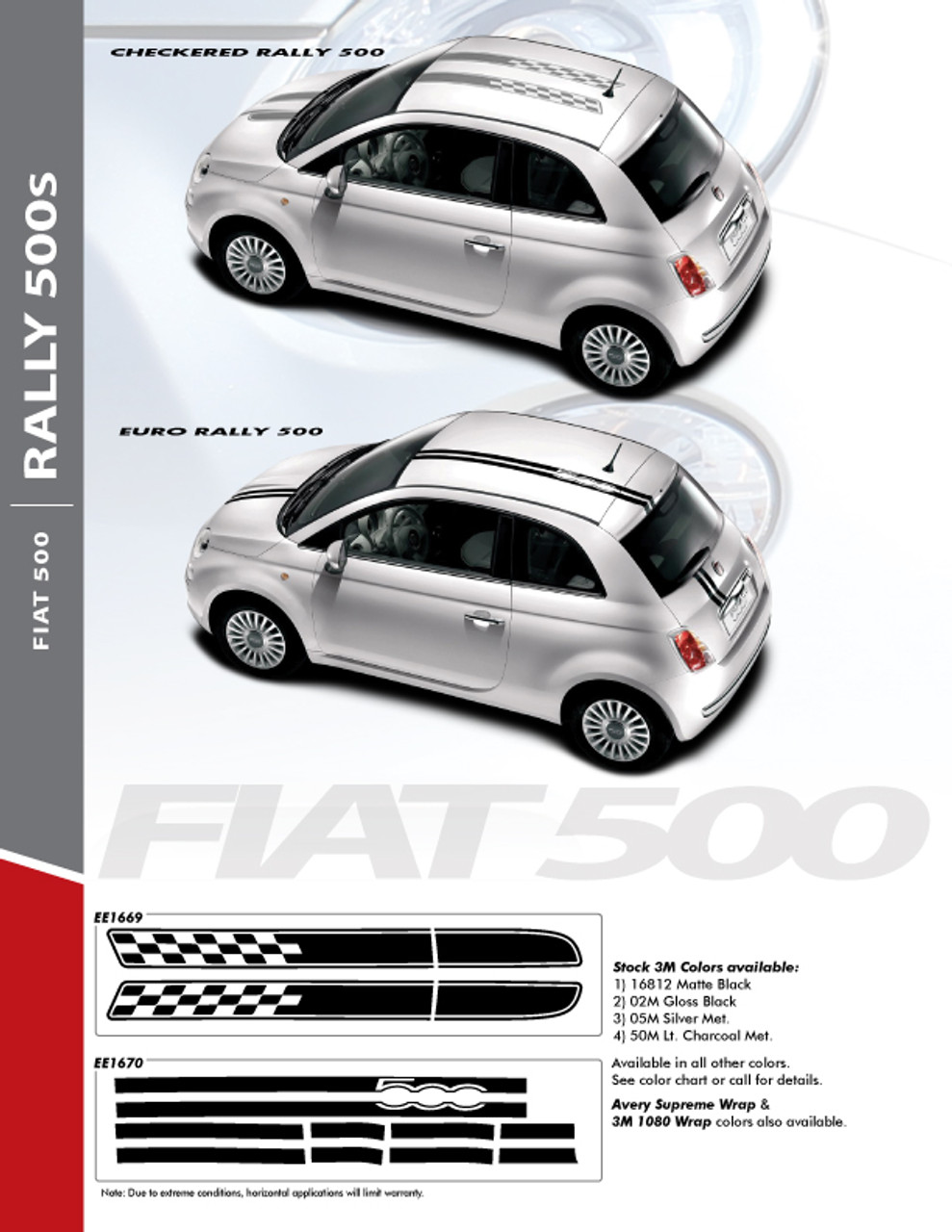 Check Rally 2011 2016 Fiat 500 Abarth Hood Roof Vinyl Graphics Stripes Decals Kit