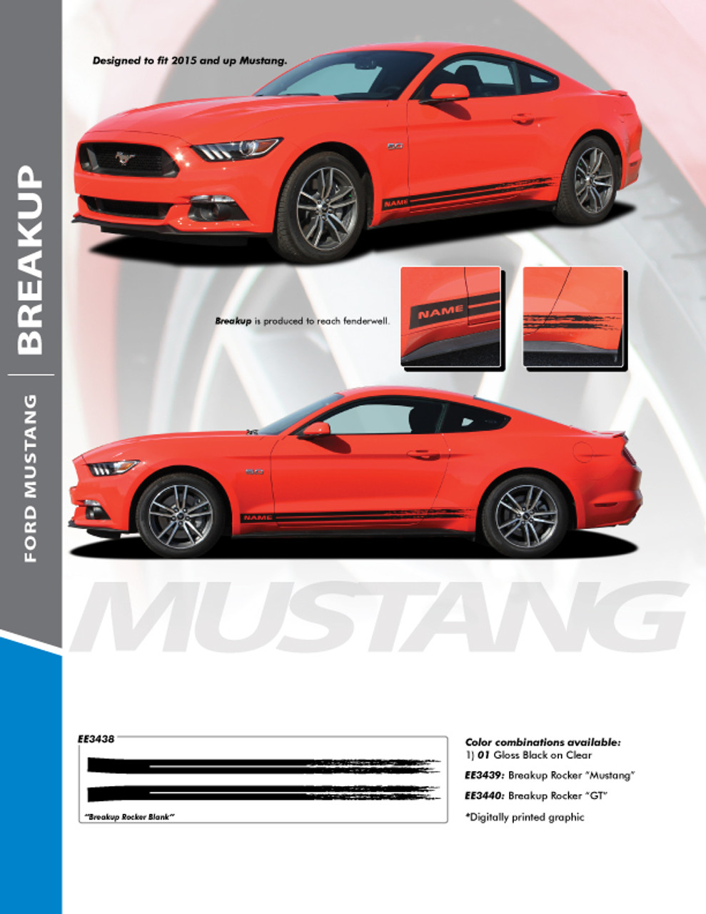 e08c3cf8410ab7 BREAKUP ROCKER   2015-2017 Ford Mustang Rocker Panel Stripes Vinyl Graphic  Decals Kit