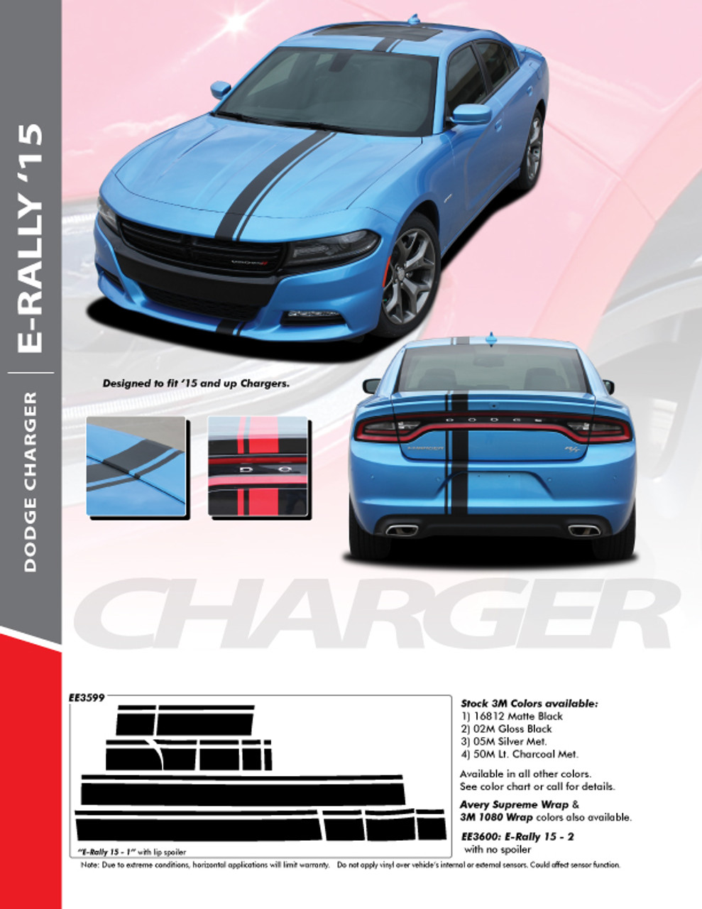 Dodge Charger Racing Stripes Euro Rally Hood Vinyl Graphic 2015 2020