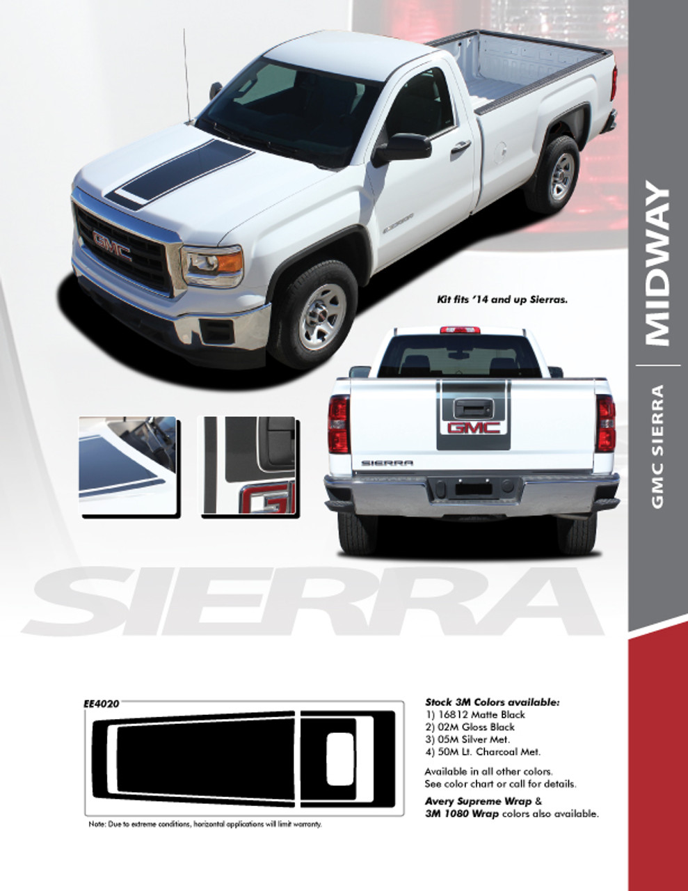 2ad86326cb MIDWAY   2014-2018 GMC Sierra Center Hood   Tailgate Vinyl Graphic Decal Racing  Stripe